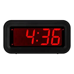 Kwanwa Small Portable Bedside/Wall Digital LED Alarm Clock With Big 1.2'' LED Time Display,AA Battery Powered Only,Can Be Placed Anywhere Without A Cumbersome Cord, Black Colour