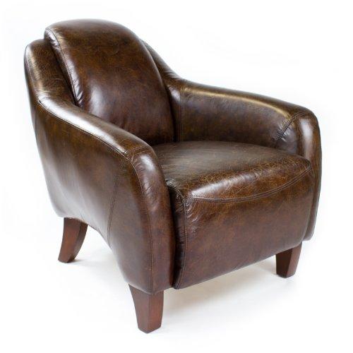 Echtleder Vintage Sessel Ledersessel Design Lounge Clubsessel NEU 455