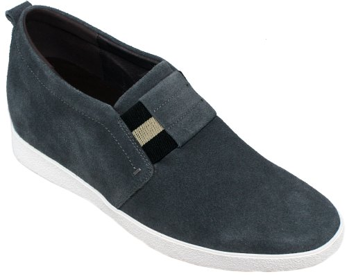 Calden - K276022 - 2.4 Inches Taller - Size 8 D Us - Height Increasing Elevator Shoes (Grey Suede Super Lightweight Slip-On Casual Shoes)