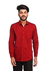 Snoby red plain paper cotton shirt SBY8078