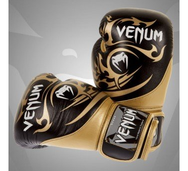 Venum Tribal Boxing Gloves, Black/Gold, 14-Ounce