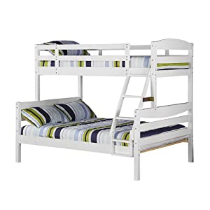 Walker Edison Twin/Double Solid Wood Bunk Bed, White from Walker Edison
