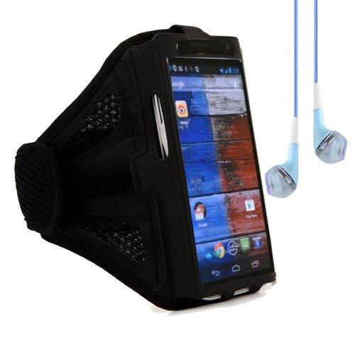 Adjustable Meshy Cycling Sports Armband Case For Motorola Moto X / Moto G / Motorola Droid X (Black) + Blue Vangoddy Headphones With Mic