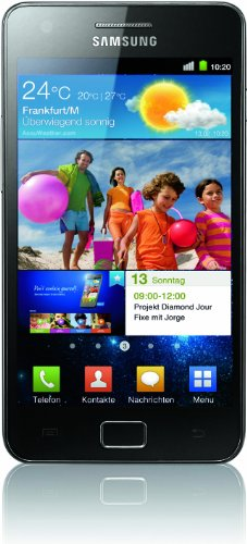 Samsung Galaxy S II (i9100G) DualCore Smartphone (10.9 cm (4.3 Zoll) Super-Amoled Plus Display, Android 2.3, 8 MP Full-HD Kamera, 2 MP Frontkamera) schwarz