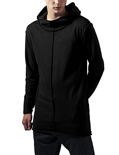 Urban Classics Long Slub Terry Open Edge Hoody, Felpa Uomo, Nero (Black 7), X-Large