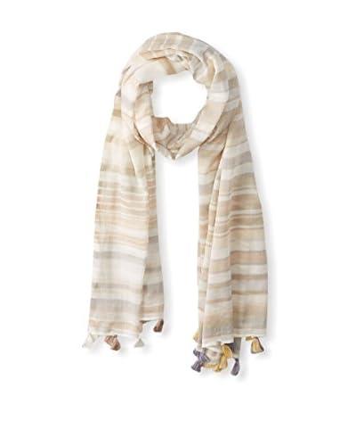 Saachi Women's Stripe Scarf with Tassels, Ivory/Sand