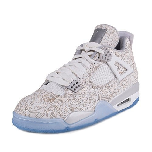 pictures of Nike Mens Air Jordan 4 Retro Laser White/Chrome-Metallic Silver Leather Size 12 Basketball Shoes