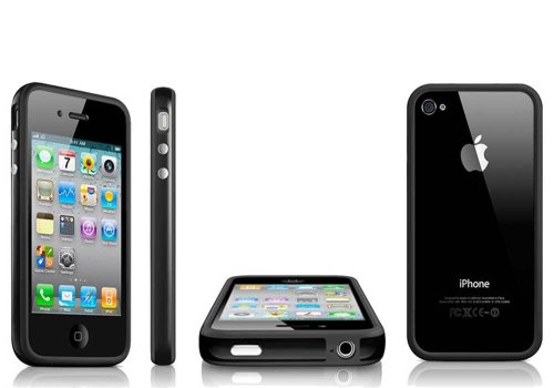 TB1 Products ® Iphone 5 5G 5S Black TPU Bumper Frame Rubber Case Cover W_ Metal Buttons for iPhone 5 5G 5S