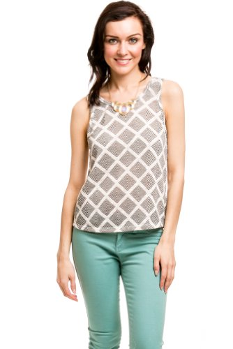 Diamond Back Latticed Top In Grey/White