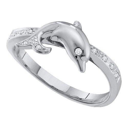 Wedding Ring Sets 0.05Ctw Diamond Dolphin Ring 10Kt White Gold
