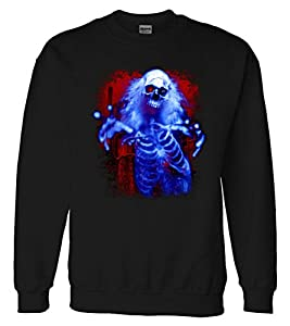 Sinister Skeleton Ghost Sweatshirt Sweater Black Large
