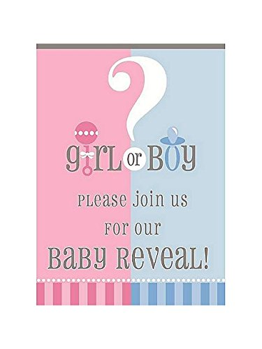 Gender Reveal 8 Count Invitations, Blue and Pink