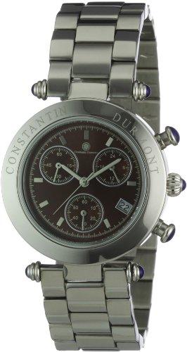 Constantin Durmont Visage - Reloj cronógrafo de mujer de cuarzo con correa de acero inoxidable plateada (cronómetro) - sumergible a 30 metros