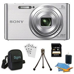 Sony DSCW830 DSCW830 W830 DSC-W830 DSC-W830 DSC-W830 20.1 Digital Camera with 2.7-Inch LCD (Silver) Bundle with 8GB Card, Deluxe Carrying Case, Mini Tripod, Lens Cleaning Kit, Screen Protectors for LCD's and Micro Fiber Cloth Big Discount