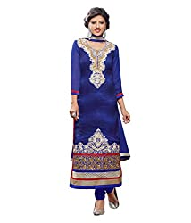 Monalisa Fabrics Women's Unstitched Dress Material (2254112_Blue _Free Size)