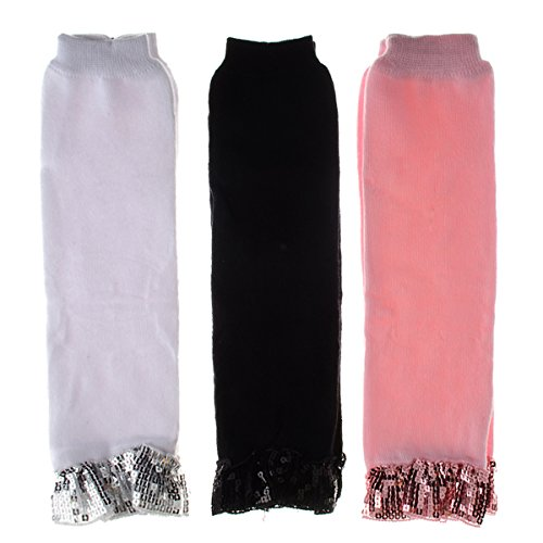 Baby Leg Warmers Set Of 3 - Sophia'S Sparkly Pink, Black, White front-313883