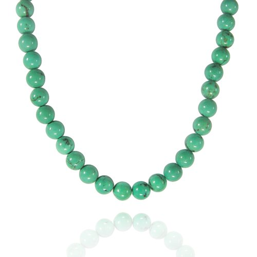 6mm Round Turquoise (China) Bead Necklace, 50