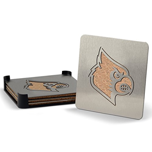 NCAA Louisville Cardinals Boasters, Heavy Duty Stainless Steel Coasters, Set of 4 (Bar Service Mat With Beer Logo compare prices)