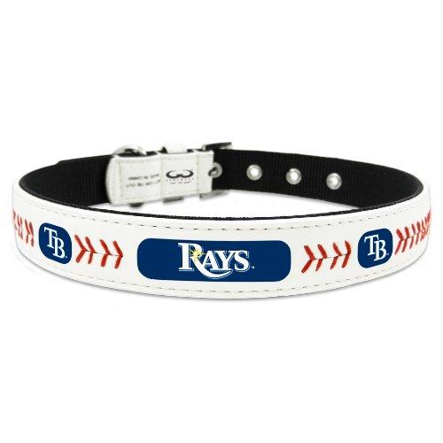mlb-tampa-bay-rays-classic-leather-baseball-dog-collar-medium