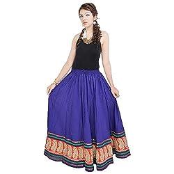 Prateek Retail Rajasthani Blue Cotton Skirt