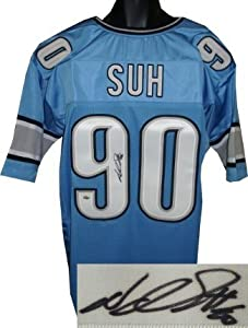 Ndamukong Suh Autographed Hand Signed Detroit Lions Blue Prostyle Jersey- JSA... by Hall of Fame Memorabilia