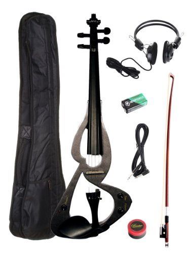 Barcelona Beginner Series Electric Violin with Hardshell Case and Accessories - Black