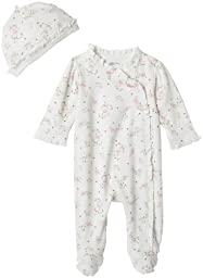 Little Me Baby Girl Rose Floral Layette Footie, Ivory Print, Newborn