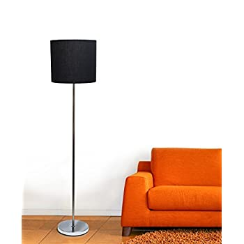 Simple Designs Home LF2004-BLK Simple Designs Brushed Nickel Drum Shade Floor Lamp, Black Brushed Nickel Drum Shade Floor Lamp, Blackblack