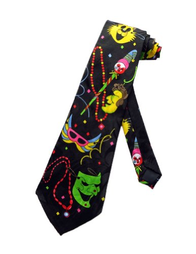 Steven Harris Mens Mardi Gras Fat Tuesday Necktie - Black - One Size Neck Tie