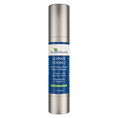 SWEET ORANGE infused 15% VITAMIN C Organic Facial Moisturizer with 15% Vitamin C + MSM + Organic Aloe, Green Tea & Sweet Orange, Try Risk Free Today, Our New Advanced Anti Aging Formula Deeply Penetrates Skin to Soften, Heal, and Protect Dry Skin, Erase Fine Lines & Wrinkles, Best Natural Anti Aging Moisturizer, Skin Care Product Available! Try Risk Free Today, One Year Unlimited Money Back Guarantee! (Azure Naturals compare prices)