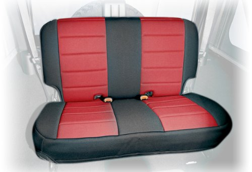 Rugged Ridge 13265.53 Black & Red Custom Neoprene Rear Seat Cover back-67227