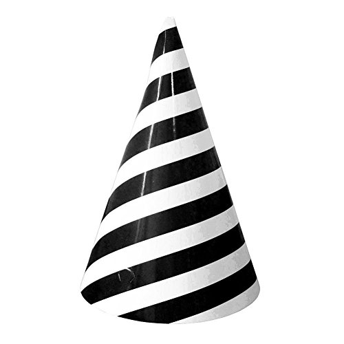 YARBAR Black Fresh Stripe Birthday Party Christmas Decorations Party Supplies Cone Hats 12PCS (Black Cone Party Hats compare prices)