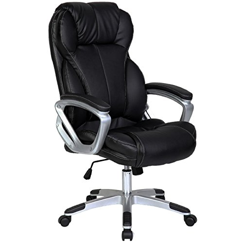 Chair - 2xhome - Black - Deluxe Professional Pu Leather Tall And Big