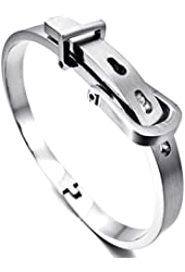Men's Stainless Steel Bracelet Bangle Cuff Silver Belt Buckle Classic (with Gift Bag)