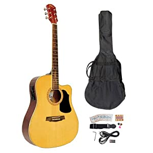 PYLE-PRO PGAKT40N 41-Inch Acoustic-Electric Guitar Package With Gig Bag, Strap, Picks, Tuner, and Strings (Natural Color)