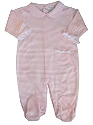 Kissy Kissy Baby Stripes Striped Collared Footie-White With Pink-0-3 Months