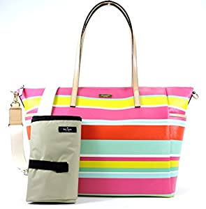 Kate Spade York Grant Street Grainy Vinyl Adaira Baby Bag,Multi Beach Stripe