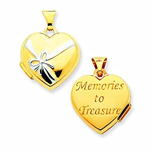14K 15mm Heart Rhodium Special Moments Locket