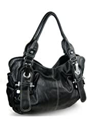Large Braided Buckle Hobo Handbag
