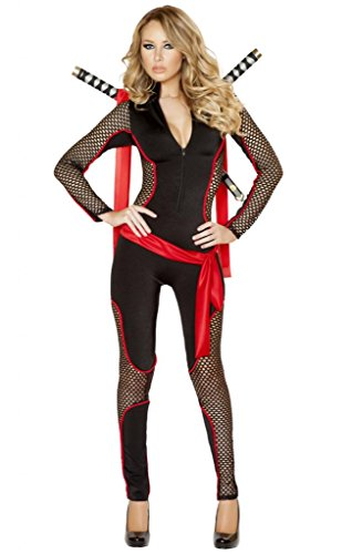 Sexy Fishnet Ninja Girl Cat Suit Halloween Costume