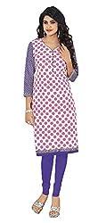 Stylish Girls Women Cotton Printed Unstitched Kurti Fabric (DT107_White_Free Size)