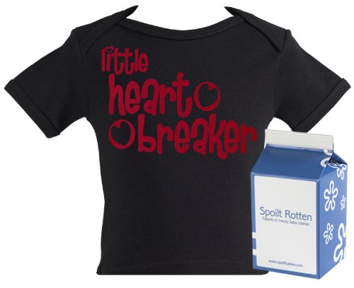 Spoilt Rotten - Little Heart Breaker Funny Baby Tee Shirt 100% Organic Sizes 6-12 months BLACK + in funky Milk Carton