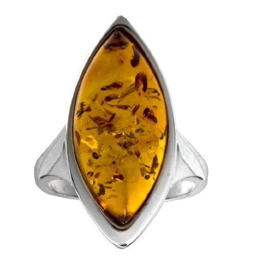 Sterling Silver Honey Amber Marquise-Shaped Ring, Size 6