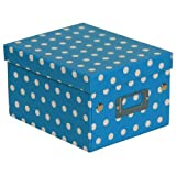 JAM Paper® Decorative Storage Box - 6 3/4 x 8 5/8 x 5 1/8 - Sky Blue & White Polka Dots - Sold Individually