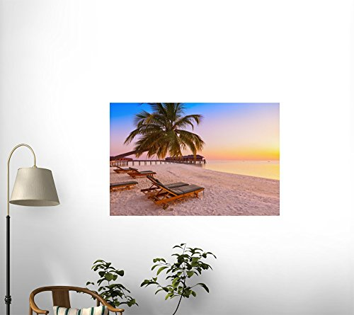Loungers on Maldives Beach Peel and Stick Fabric Wall Sticker by Wallmonkeys Wall Decals - 18 Inches W x 12 Inches H promo code 2016