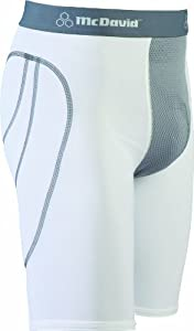 McDavid Vented Sliding Short with Adult Flex Cup (White/Grey, Large)