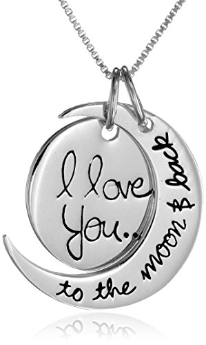"Sterling Silver ""I Love You To The Moon and Back"" Pendant Necklace, 18″ image"