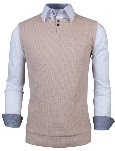 Tom's Ware Maglietta-Slim Fit a Coste in Maglia senza Maniche-Uomini TWCT08-BEIGE-S