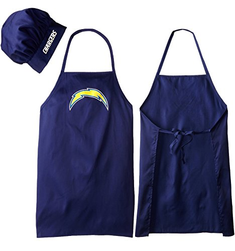 San Diego Chargers Front Office: NFL SAN DIEGO CHARGERS BARBEQUE APRON AND CHEFS HAT SET