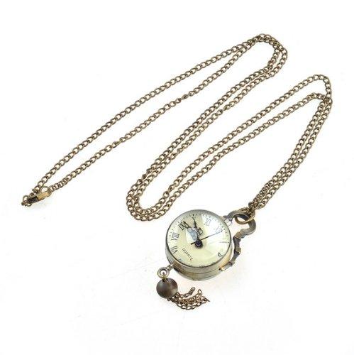 Bestdealusa Art Bronze Tone Necklace Chain Ball Quartz Movement Pocket Watch Bell